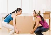 שתי נשים מרימות ארגז להובלה