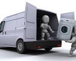 2 דמויות מבצעות הובלה של מכונת כביסה
